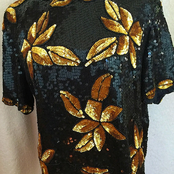 0d1303f5c3bf2 Stenay Womens Evening Top Sz. M Gold Black. M 5aeb09252ab8c5ce9bbf6c03